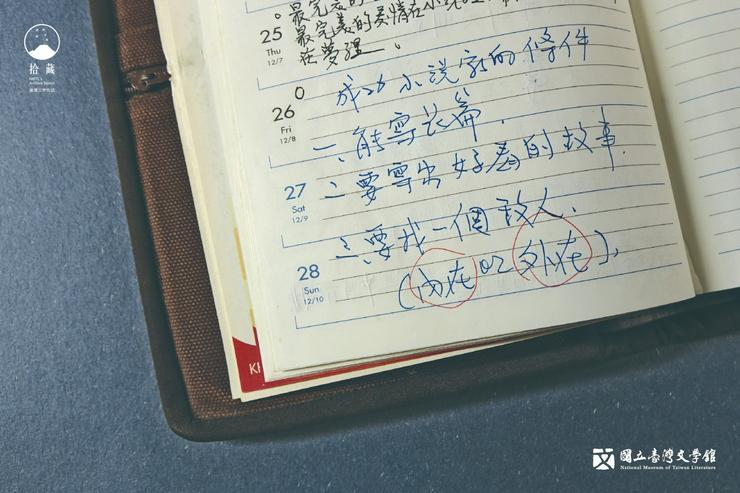 在1月底的行事曆上寫著:「成功小說家的條件 一、能寫長篇  二、要寫出好看的故事 三、要找一個敵人(內在or外在)。」此時,他已經完成了他的第一部長篇小說。(藏品/霍斯陸曼・伐伐提供,圖/國立臺灣文學館)